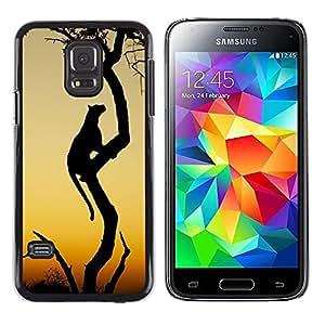 Leopardo del gato grande de África desierto Sunset- Metal de aluminio y de plástico duro Caja del teléfono - Negro - Samsung Galaxy S5 Mini (Not S5), SM-G800