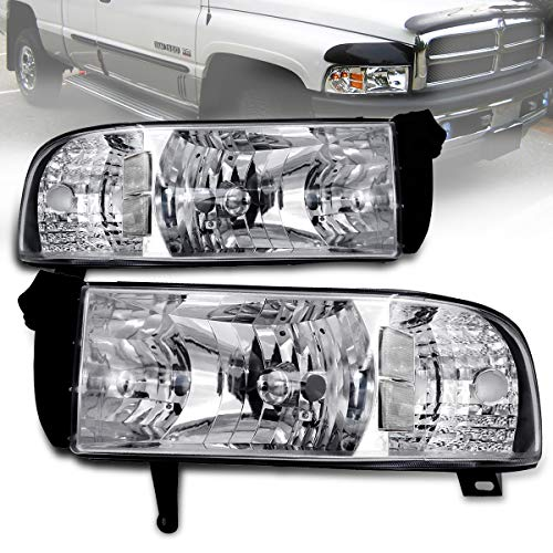 1994-2001 Ram 1 Pieces Headlight Replacement Lamps With Corner Signal Lights (Does not Fit Sport Model) (Chrome Clear) (CHROME)