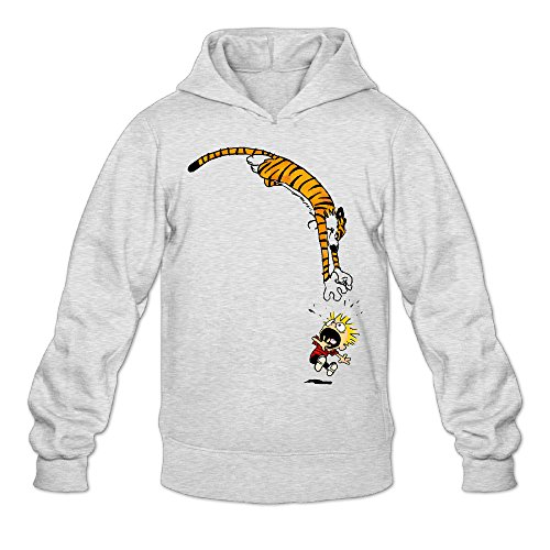 DVPHQ Men's Custom Calvin And Hobbes Hoodies Size L Ash