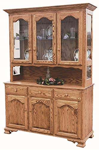 """New Hickory Wholesale Amish LaGrange 56"""" 3-Door Solid Wood Hutch, Stained Medium Walnut"""