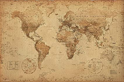 Vintage Looking World Map.World Map Vintage Style 36 X24 Amazon Ca Home Kitchen