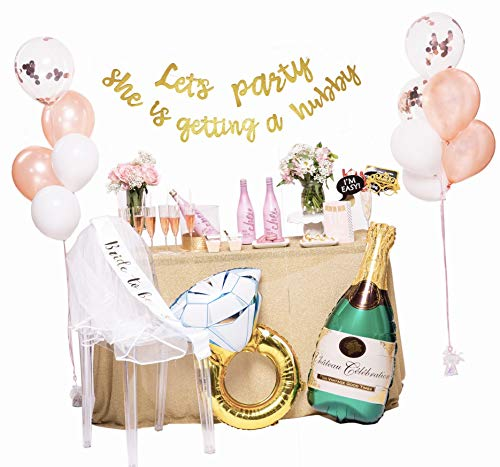 (Cotiparty Bachelorette Party Decorations - Deluxe Bridal Shower Kit Let's Party She is Getting a Hubby Banner, Photo Props, Veil, Bride to Be Sash, Champagne and Ring Foil Balloons, Latex Balloons)