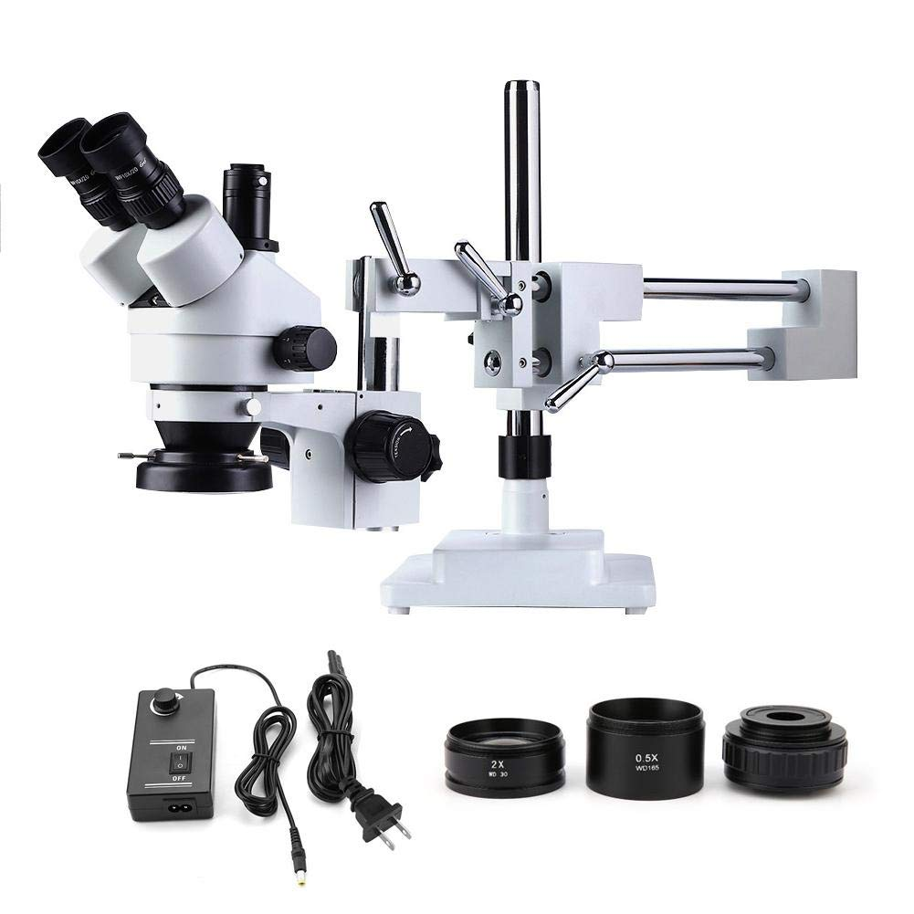 Microscope 3.5X-90X Trinocular Stereo Zoom Microscope on Dual Arm Stand with Ring Lamp(US) by Zouminy