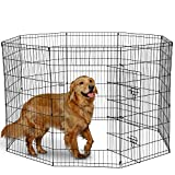 Dog Exercise Pen Pet Playpens for Dogs - Puppy Playpen Outdoor Back or Front Yard Fence Cage Fencing Doggie Rabbit Cats Playpens Outside Fences with Door - Metal Wire 8-Panel Foldable (42