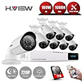 8CH HD Home Security Camera System 1TB HDD, H.VIEW 8 Channel 720P AHD DVR Recorder, 1200TVL 1.0MP Weatherproof Outdoor Bullet CCTV Camera, Video Surve