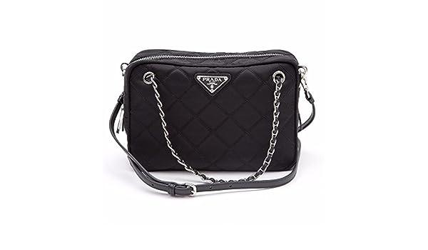 00c904c381b480 Prada Tessuto Impuntu Quilted Nylon Shoulder Chain Handbag BL0910, Black /  Nero: Amazon.ca: Shoes & Handbags