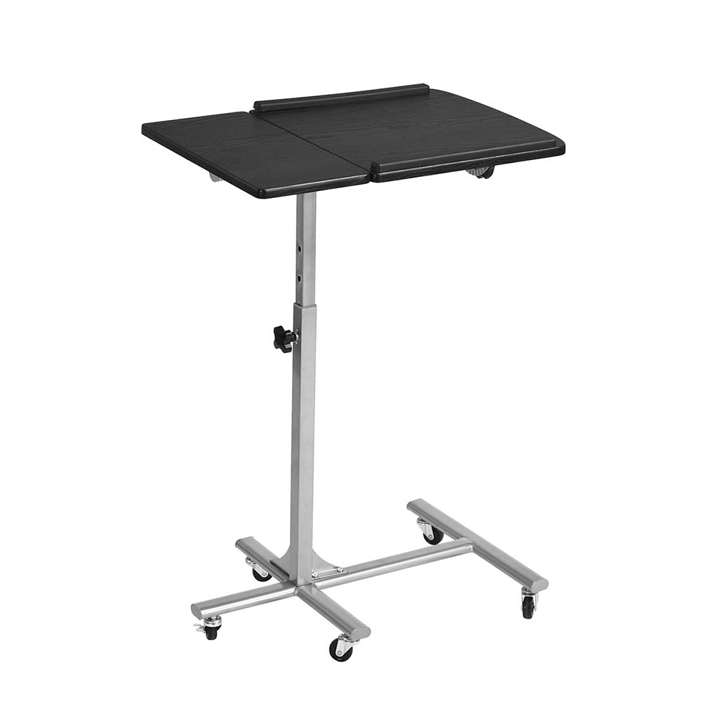 Tilt Adjustable Surface with Book//e-Device Edge Stopper Over Bed Side Hospital Table Standing +Wheels, Black Silver HomyCasa Portable Laptop Desk Lightweight Folding Breakfast in Bed TV Dinner Tray