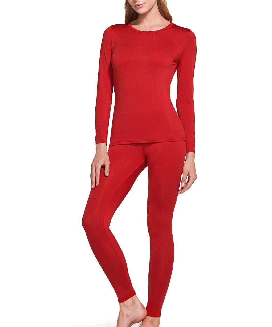 TSLA Blank Women's Top & Bottom Set w Microfiber, Thermal Set(whs200) - Red, Large by TSLA