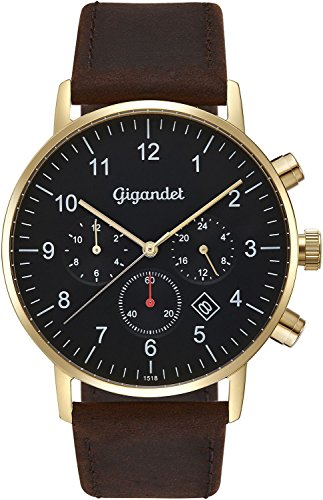 Gigandet Men's Quartz Watch Minimalism II Dualtime Analog Leather Strap Gold Brown G21-002