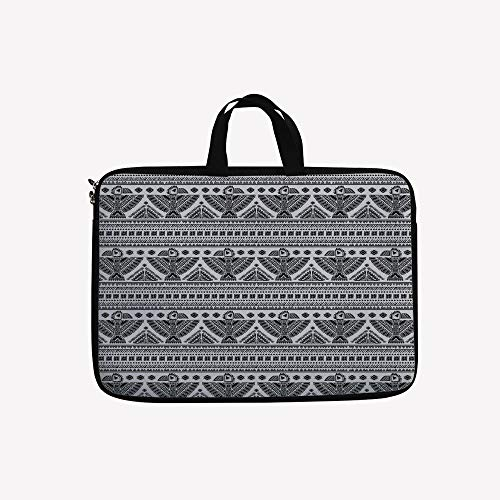 """3D Printed Double Zipper Laptop Bag,Tribal Art Pattern with Eagle Symbol Mystic,10 inch Canvas Waterproof Laptop Shoulder Bag Compatible with 9.7""""10.1"""" 10.6""""inch Laptop."""