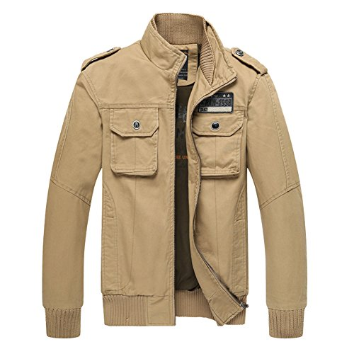 H.T.Niao Jacket8201C3 Men 's Fashion Slim Collar Jackets(Khaki,Size (Noritake Applique)