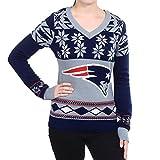 NFL KLEW New England Patriots Womens Big Logo V-Neck Sweater