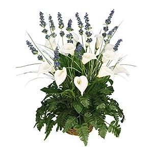 "Arcadia Silk Plantation 24"" Artificial Calla Lily, Lavender, Leather Fern Grass in Basket Arrangement 116"