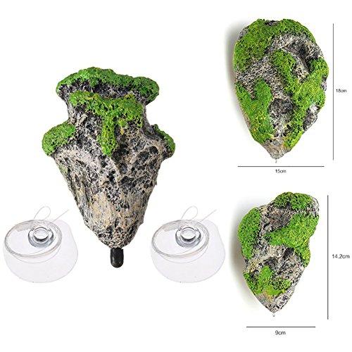 (Floating Moss Rocks Resin Stone Decorations Suspended Rock Fish Tank Decoration Rock Aquarium Rocks (3 Rocks))