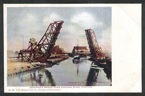Jack-Knife Bridge over Chicago River IL postcard 1910s