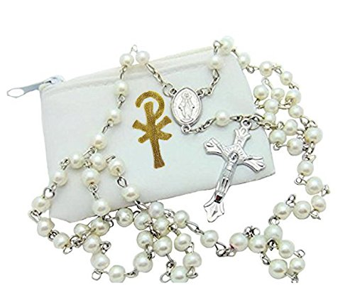 (Elysian Gift Shop Catholic 6mm Beads White Pearl Rosary with White Vinyl Rosary Case with Gold Accent )