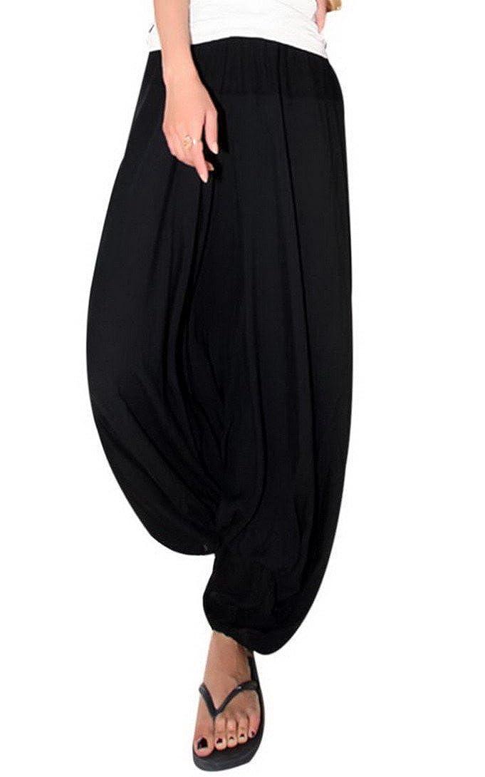 Aivtalk - Pantalones Anchos Holgados Arabe Mujeres Unisex Palazzo Bombachos Flojos Harem de Lino Suave para Mujeres Estilo Casual Vida Cotidiana Verano - Gris Negro Rojo Azul Verde