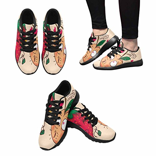 Interestprint Mujeres Trail Running Zapatos Jogging Ligero Deportes Walking Athletic Sneakers Melocotones Y Fresas Multi 1