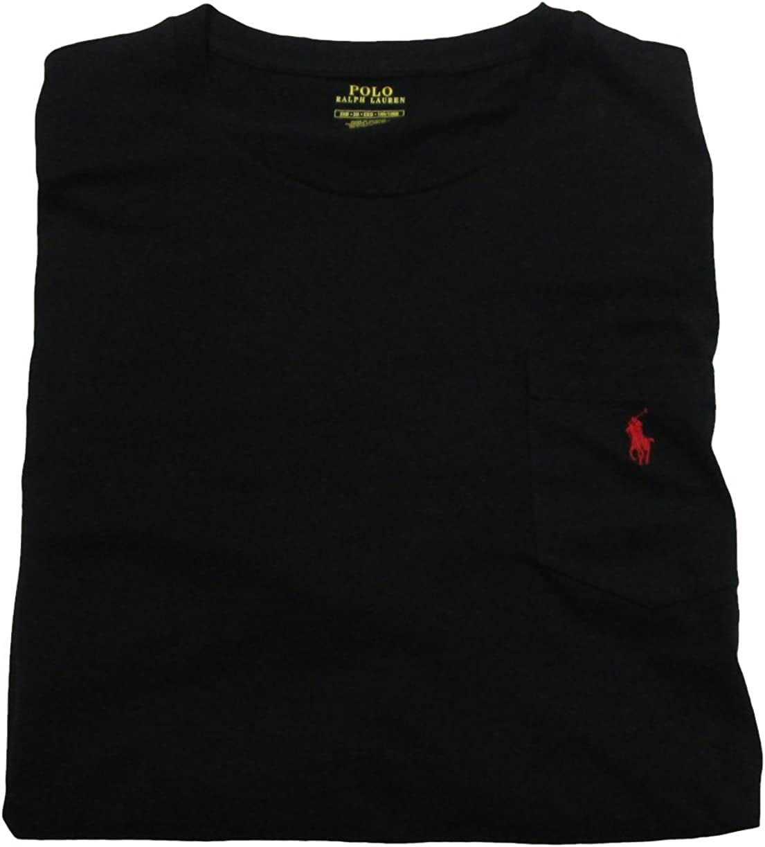 Polo Ralph Lauren Mens' Big Tall T-Shirt Jersey Crew Neck Pocket T-Shirt (XXX-Large/Tall, Polo Black/Red Pony)
