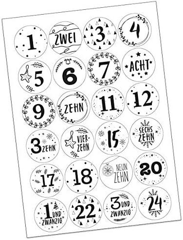 FesttagsLiebe, Aufkleber 1-24 Weihnachten Adventskalender Zahlen Sticker Etiketten rund 45mm schwarz weiß