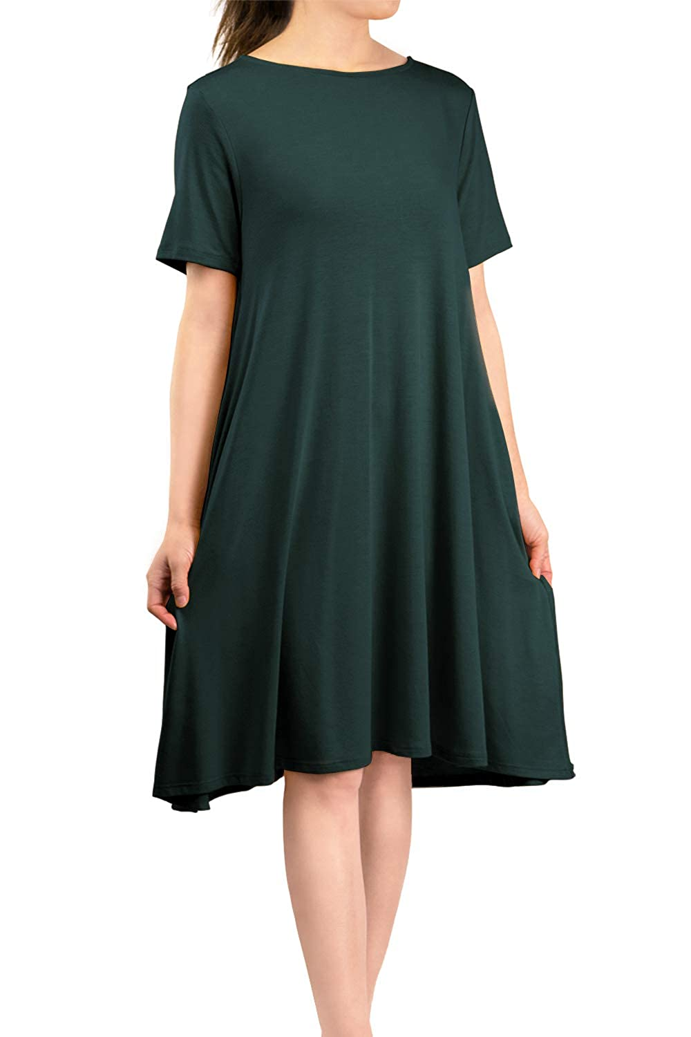 Hunter Green Malibu Days Women's Side Pockets Short Sleeve Casual Basic Loose Plain Solid Flared T Shirt Midi Dress