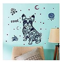 GUOXIN12 Fashion Creative French Bulldog Wall Stickers,Stars Moon Bird Dog Decor Bedroom Living Room Door Decorative Wallpaper DIY Decals