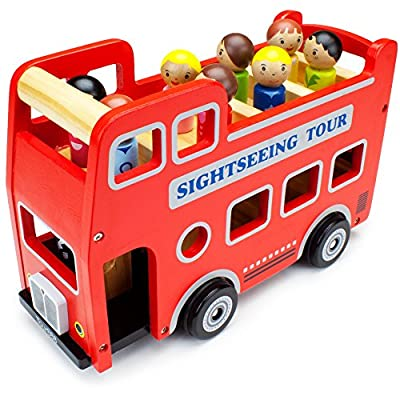 Double-Decker Tour Bus for Kids - Wooden Wheels Large Toy Car with Removable Top Deck & 9 Figurines - Classic Red Wood Children's Play Vehicle - Baby Learning Toys for Toddlers, Girls & Boys, 10 Pcs: Toys & Games