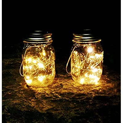 Mason Jar Solar Lids Lights, 6-Pack 30 LEDs Fairy Fireflies String Lights Lids Insert(6 Hangers Included, Jars Not Included), Fits Regular Mouth Mason Jars, Patio Garden Decor Solar outdoor Laterns : Garden & Outdoor