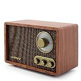 Looptone Vintage Wooden FM/AM Radio with Rotary Knob (Vintage Brown)