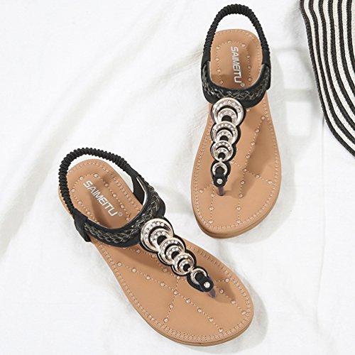 Chaussure Clip Plates Strass Sandales Tongs Bout Été Noir Brillant Mules Chaussons Ouvert JITIAN Toe Femmes OwZ1qqp