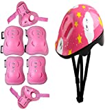 Eforstore Sports 7pcs Cycling Bike Riding Skating Helmet and Pads Chilren's Kids Protective Pads Knee Elbow Wrist Head Protection Skateboard Helmet and Pads Set Color Pink