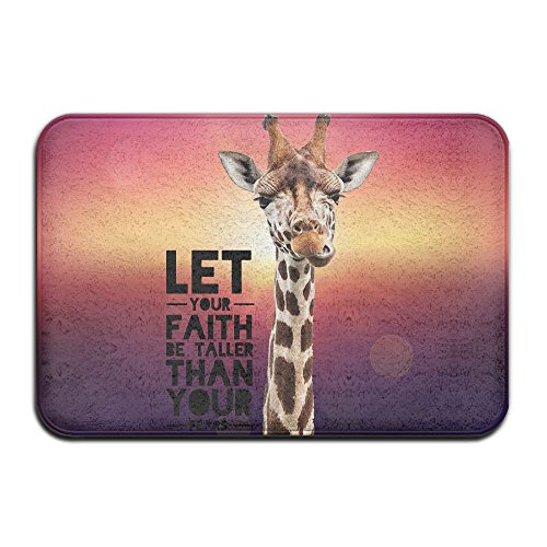 EWD8EQ Giraffe Faith Taller Non-slip Indoor/Outdoor Floor Mat For Health And Wellness Bathroom Entrance Rug 23.6''x 15.7'' by EWD8EQ
