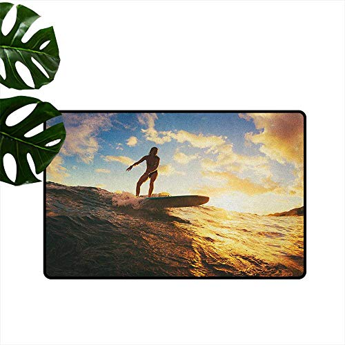 RenteriaDecor Ride The Wave,Machine Washable Carpet Sunset Surf in The Ocean Young Woman Under Dramatic Sky Exotic Hobby Image 18
