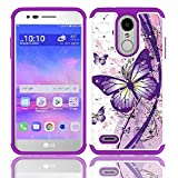 LG Rebel 4 Case, LG (Rebel 4) 4G LTE Case, AT&T Prepaid LG Phoenix 4 Case, Phone Case for Straight Talk LG Rebel 4 Prepaid Smartphone, Studded Rhinestone Crystal Cover Case (White-Purple Butterfly)