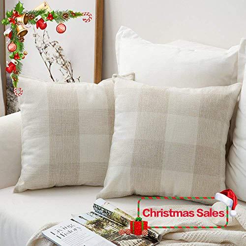 MIULEE Pack of 2 Classic Retro Checkers Plaids Cotton Linen Soft Soild Christmas Decorative Square Throw Pillow Covers Home Decor Design Set Cushion Case for Sofa Bedroom Car 18x18 Inch 45x45 cm (Covers Pillow Decorative Square)