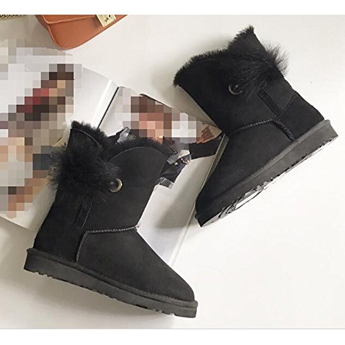 Flat Boots Almond Fall Black Heel for Casual Khaki Booties Gray Almond Boots Women's HSXZ Winter Comfort Fur ZHZNVX Ankle Shoes Boots Snow xCvXw6a1