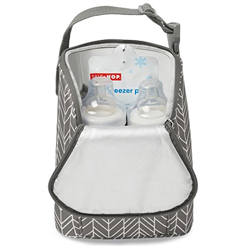 Skip Hop Insulated Breastmilk Cooler And Baby Bottle Bag, Grab & Go Double, Grey Feather by Skip Hop (Image #1)