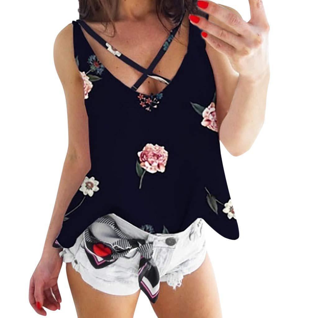 Women's Ladies Fashion Print Flower V Neck Sleeveless Blouse Top Vest Summer Casual Tank for Women 2019 Best Black