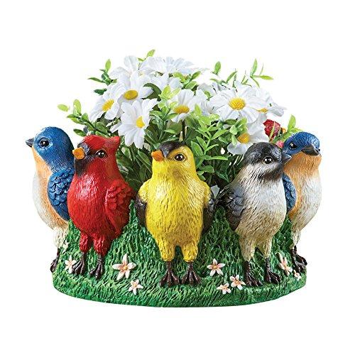 Pretty Birds Small Decorative Resin Garden Planter Pot, (Pretty Flower Pots)