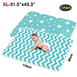 "2 Pack XL Portable Baby Diaper Changing Pads,Waterproof Thick,Soft and Absorbent Baby Crib Sheet Cover,Ideal for Changing Table/Station,Crib,80x110cm/31.5""x43""(Star+Ripple)"