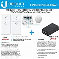 Ubiquiti F-POE 2Pack FiberPoE Optical PoE devices +POE-50-60W w/ US PowerCord