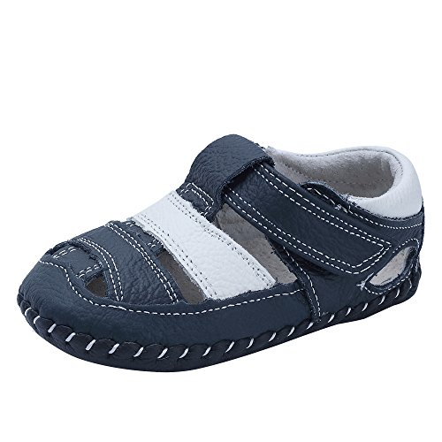 Kuner Baby Boys Girls Genuine Leather Soft Bottom Sandals First Walkers Shoes (13.5cm(18-22months), White+Dark Blue) (Boys Leather Soft)