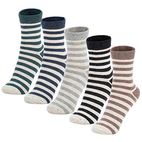 (Women Casual Crew Socks Ankle Cotton Warm Long Stripe Sock 5-6 Pairs (Long Stripe, 5 Pairs))