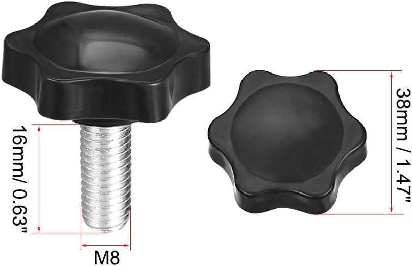 sourcing map Perilla de tornillo de sujeci/ón de 38 mm de di/ámetro Perilla en forma hexagonal de ciruela de M8 /× 16 mm de rosca 4 unidades