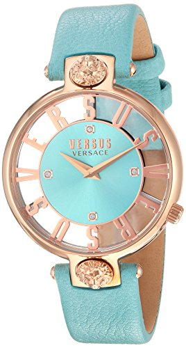 Versus by Versace Women's 'KRISTENHOF' Quartz Gold and Leather Watch, Color:Green (Model: VSP490418)