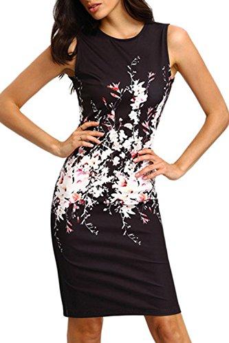 Floral sin mangas Cocktail fiesta Bodycon Vestido de las mujeres Black