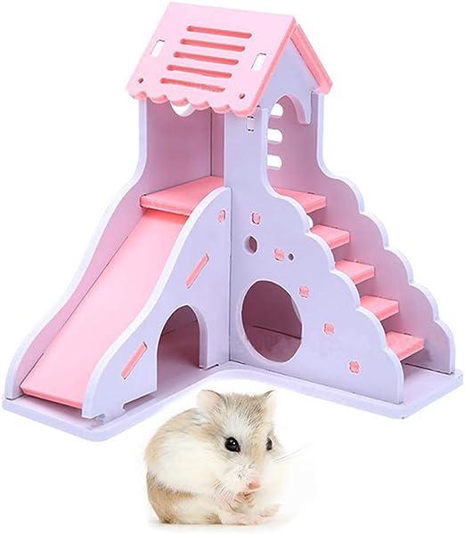 BulzEU- Lovely Hamster Sleeping House Slide Escalera Juego Nest Jaula Ejercicio Juguetes para Enano hámster Sirio, Gerbil, Rata, ratón, jaulas de Animales pequeños – Boredom Breaker Play Shack: Amazon.es: Productos para mascotas