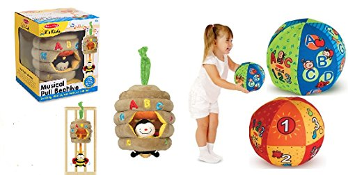 Melissa & Doug 2 in 1 Talking Ball and Musical Beehive Baby and Toddler Learning Toy Set 6 months and up