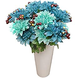 Ikevan 1 Small Bunches 6 Heads Artificial Flowers Dahlias Silk Fake Flower Leaf Bridal Bouquet Home Wedding Floral Decor (Blue)
