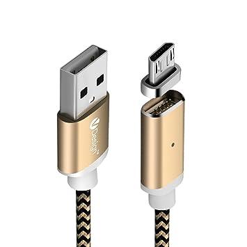 SKITCH® 2M Enchufe magnético LED Micro USB Trenzado Cable de Carga Micro USB 2.0 un Macho a Micro B Cargador sincronización de transmisión de Datos de ...